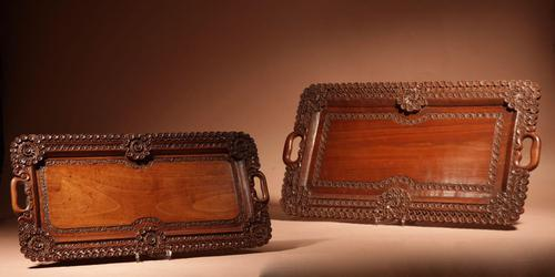 Two Colonial Very Fine Carved Wooden Trays (1 of 13)
