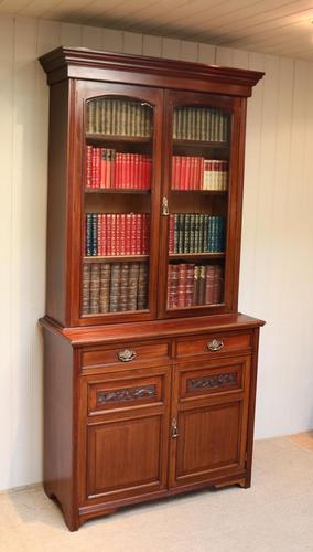 Walnut Cabinet Bookcase by James Shoolbred & Co (1 of 12)