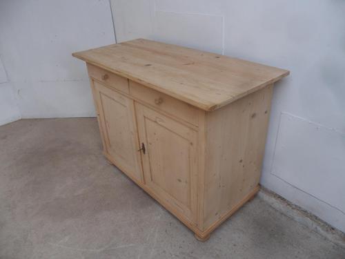 Victorian Large Antique Pine 2 Door Dresser Base to wax / paint (1 of 9)