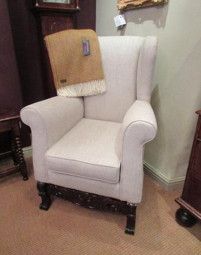 Antique Linen Upholstered Wing Back Armchair (1 of 6)