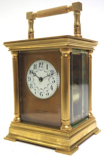 Antique Striking French 8-day Carriage Clock Unusual Masked Dial Case with Enamel Dial (1 of 11)
