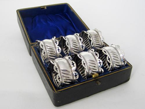 Boxed Set of Six Late Victorian Silver Plated Napkin Rings (1 of 5)