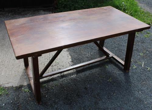 1830's Fruitwood Farmhouse Table with Stretcher (1 of 3)