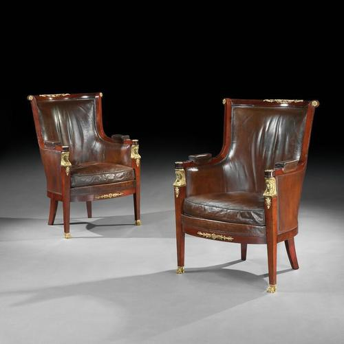 Pair of 19th Century Gilt Bronze Mounted Moroccan Leathered Armchairs, Maison Lalande (1 of 13)