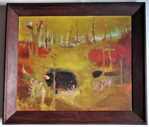 French Expressionist, Pierre Lavarenne, Paysage Jaune, Oil on Canvas c.1955 (1 of 6)