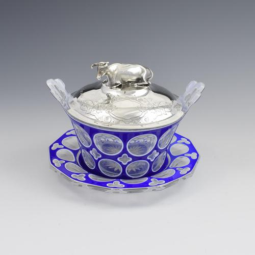 Early Victorian Blue & White Overlay Glass Butter Dish Silver Cow Cover (1 of 15)