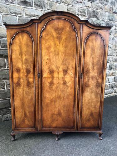 Antique Figured Walnut Triple Wardrobe (1 of 13)