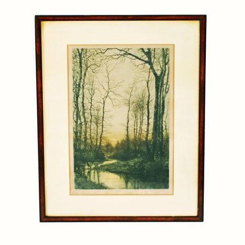 'Moonrise' Colour Etching by Eugène Delâtre (1 of 8)