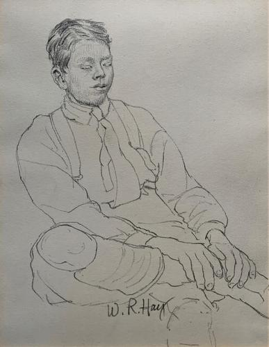 William Robert Hay - Original - Seated Student Portrait Pencil Drawing (1 of 12)