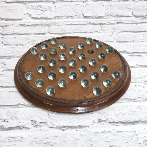 Victorian Solitaire Board with Hand Blown Marbles (1 of 5)