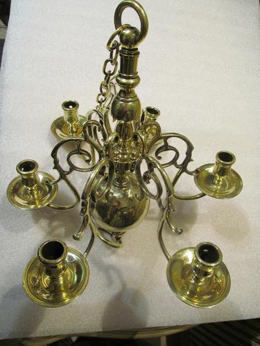 A Dutch Style 6 Branch Brass Ball Chandelier (1 of 4)