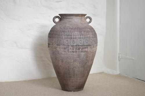Large Mediterranean Earthenware Floor Vase with Loop Handles (1 of 10)