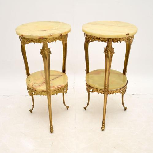 Pair of Antique French Brass & Onyx Side Tables (1 of 7)