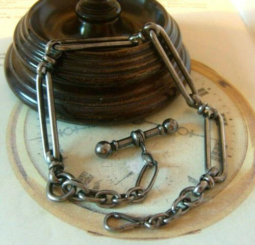 Georgian Pocket Watch Chain 1830s Antique Steel Large Fancy Albert With T Bar (1 of 12)