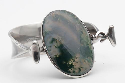 Georg Jensen Torun Silver Cuff with Moss Agate (1 of 6)