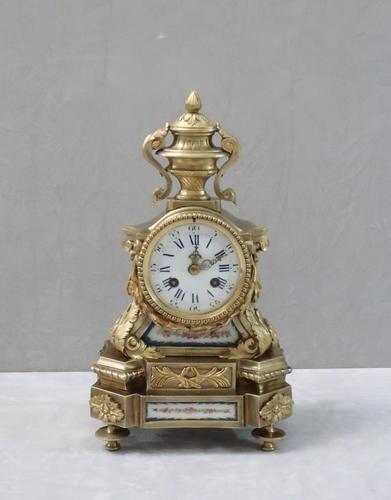 French Napoleon III Bronze Gilt and Sevre Panel Mantel Clock (1 of 7)