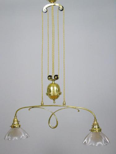 Good Holophane Brass Rise & Fall Chandelier Light Fitting 1904 (1 of 7)
