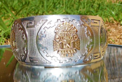 Rare Stunning Art Deco Solid Silver & 18k Gold Shield Mounted Bracelet / Bangle (1 of 8)