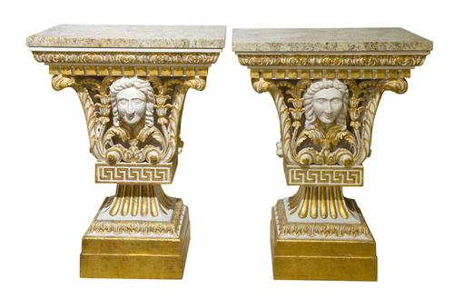 Pair of William Kent Style Marble Topped Small Pier Tables (1 of 7)