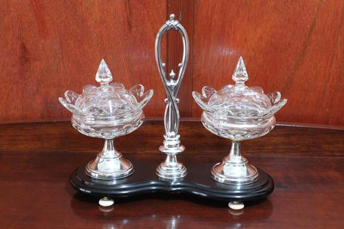 Dutch Glass & Silver Sweetmeats Set on Stand (1 of 6)