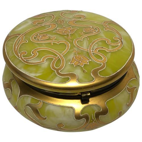 Antique Art Nouveau Loetz Art Glass Round Gilt Floral Trinket Box (1 of 33)