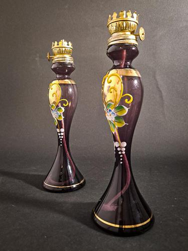Pair of Purple Victorian Lamps (1 of 5)