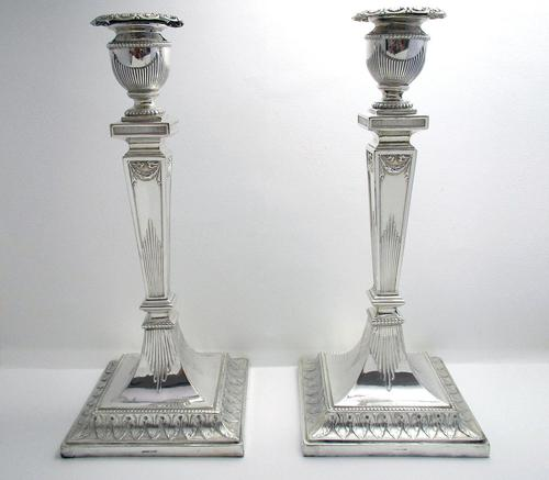 """Antique Victorian 10"""" tall ADAM STYLE Silver Plated English Candlesticks Candle Holders (1 of 9)"""