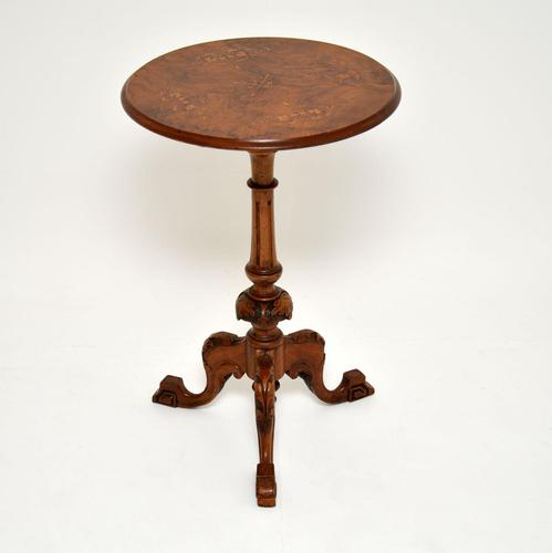 Antique Victorian Inlaid Burr Walnut Side Table (1 of 8)