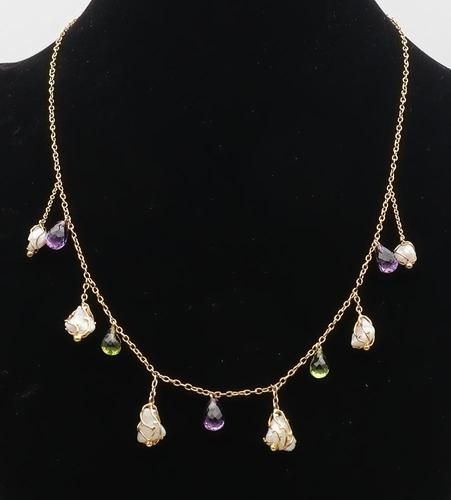 Baroque Pearl, Amethyst & Peridot Gold Necklace (1 of 1)