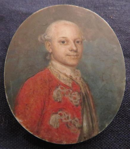 Miniature Portrait Georgian Officer c 1750 (1 of 4)