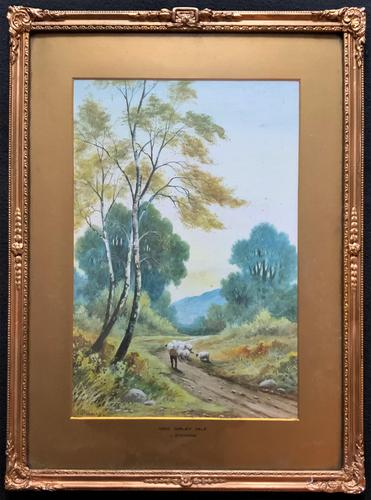 Near Darley Dale 19thc Derbyshire Sheppard Sheep  Landscape Watercolour Painting (1 of 13)