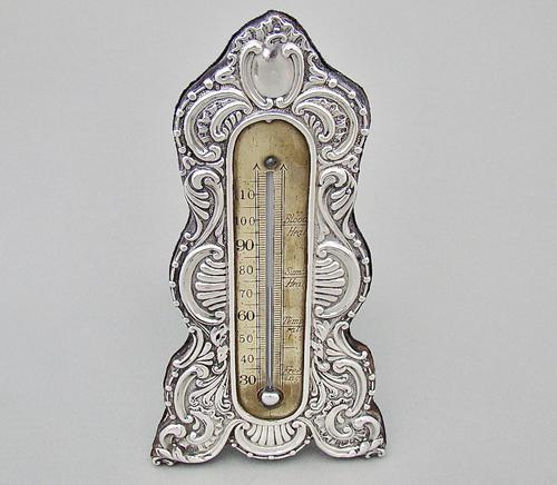 Rare Art Nouveau Silver Desk Thermometer by J. Batson & Son, London 1903 (1 of 7)