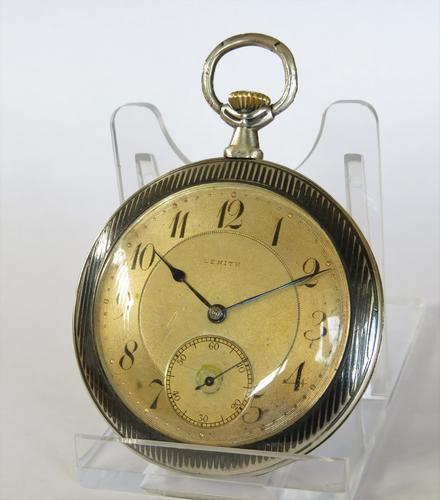 Antique Zenith Pocket Watch with Niello Case, 1914 (1 of 5)