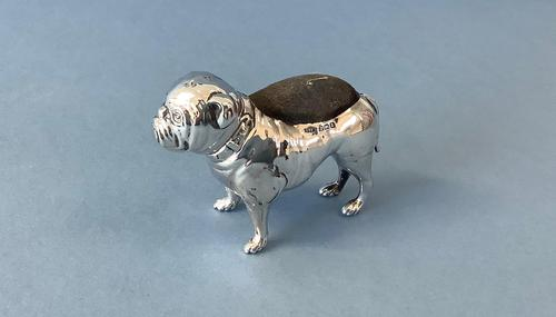 Antique Silver Bulldog Pin Cushion (1 of 4)