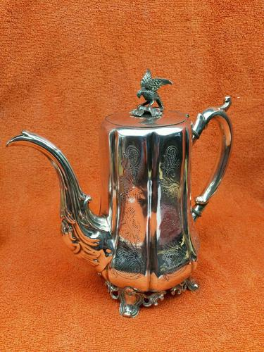 Antique Victorian Silver Plate Teapot C1870 Hand Engraved Folate Patterning with Bird, Maybe Eagle Finial (1 of 11)