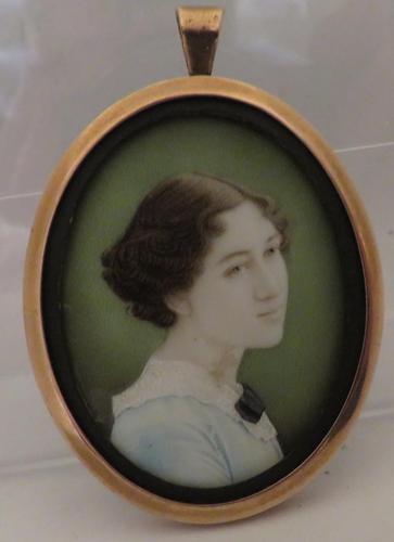 Miniature Portrait Young Edwardian Lady Pendant Frame (1 of 4)