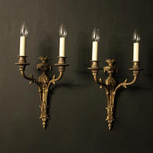 French Pair of Bronze Gilded Antique Wall Sconces (1 of 10)