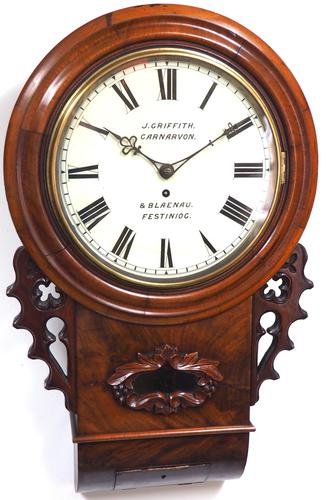 Rare Antique Drop Dial Wall Clock 8 Day Single Fusee Movement Signed John Griffith Carnarvon (1 of 5)