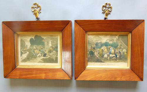 Pair of Georgian Hand Coloured Engravings Brigand's Confession (1 of 6)