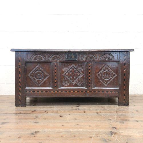 18th Century Oak Coffer with Inlay (1 of 13)