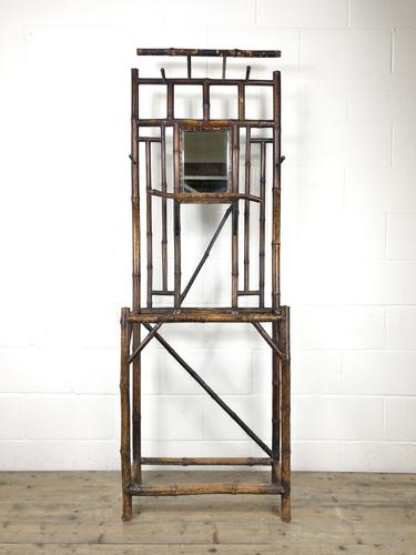 Victorian Antique Bamboo Mirrored Hall Stand (1 of 7)