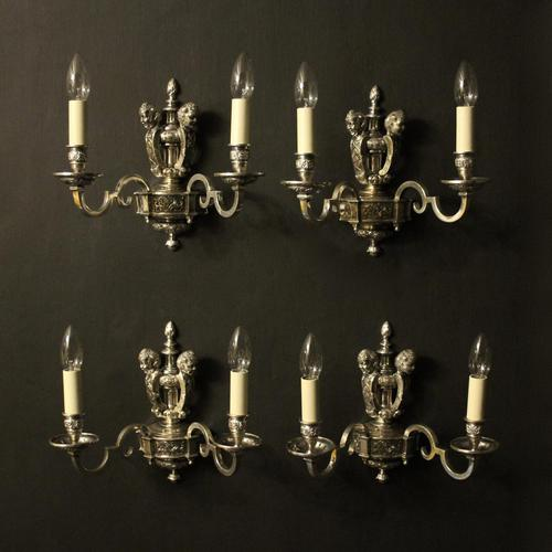 English Set of 4 Cherub Silver Wall Lights (1 of 9)