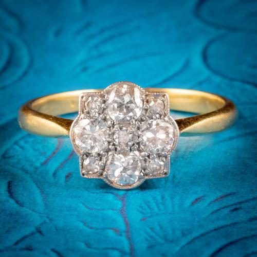 Art Deco Diamond Cluster Ring 18ct Gold Platinum Circa 1920 (1 of 6)
