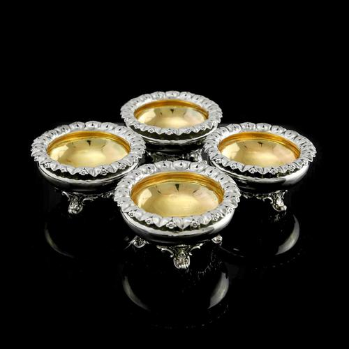 Magnificent Set of 4 Georgian Solid Silver Salts - Barnard 1837 (1 of 22)