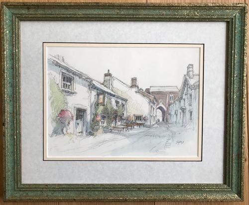 Original Watercolour 'Pub & Gateway' by Aubrey Sykes 1910-1995 (1 of 2)