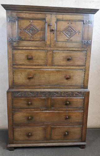 Carved Oak Millinery Cupboard / Tallboy / Press (1 of 11)