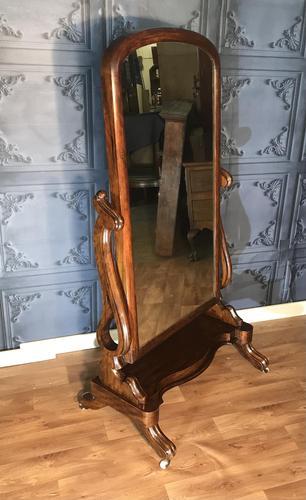 Victorian Walnut Cheval Mirror (1 of 12)