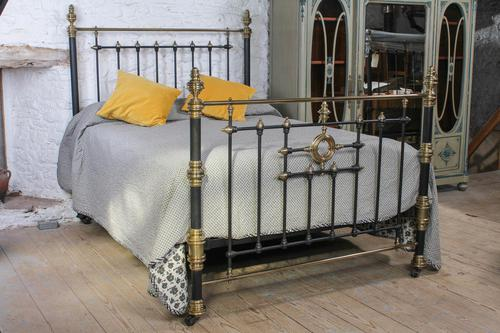 Handsome Victorian Naturally Aged Brass & Iron King Size Bed (1 of 8)