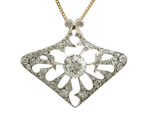 4.21ct Diamond & 18ct Yellow Gold Pendant / Brooch - Antique French c.1900 (1 of 16)