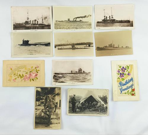 WW1 and WW2 Postcards Submarines, Boats & Embroidered. Photographic (1 of 2)